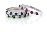 Color Stone Diamond Band Ring 9 Stone Ring, 14kt. Gold Pink, or Blue Sapphire, Ruby or Emerald.