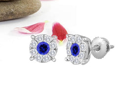 14kt. 8.5mm Sapphire Center Diamond Invisible Flower Stud Earrings Martini Style Cup
