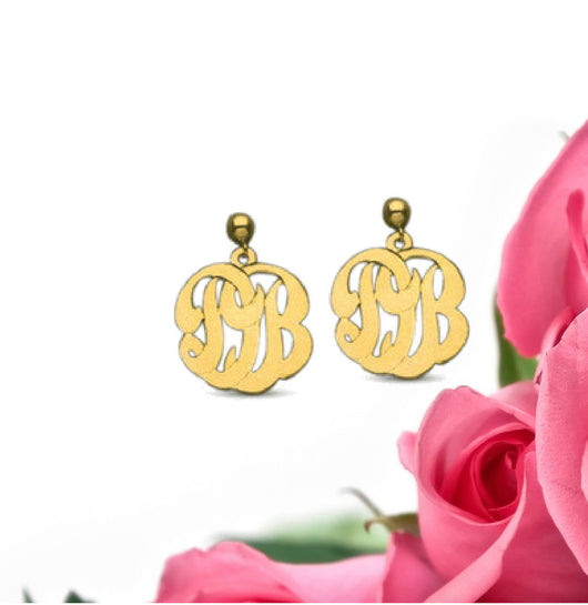 Gold or Silver Monogram Dangle Earrings Jewelry