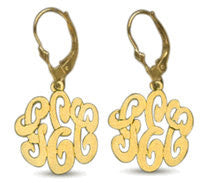 14kt. Gold Over Sterling Silver Personalized Monogram Earrings