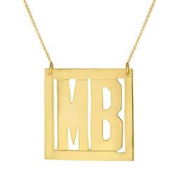 Block Letter Initials Personalized On Silver Square Frame Necklace