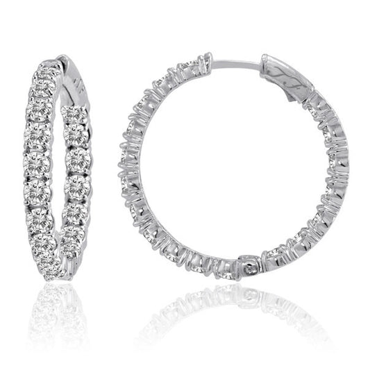 Diamond In & Out Hoops Shared Prong 2.5ctw, 1