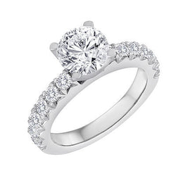 Pave .50ctw Bridal Engagement Ring with V Shared Prong. Wedding Ring Made In NYC Free Shipping