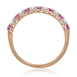 Pink Sapphire and Diamond Anniversary Band Ring 14kt. Trellis Prongs 14kt. Rose Gold