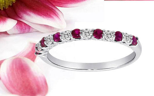 Diamond Ruby Band Ring 7 Ruby 6 Diamonds Stack-able 14kt Gold.