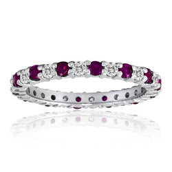 Diamond Ruby Eternity Band, Common Prong, 14kt. White Gold