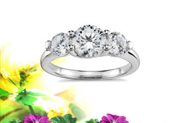 Classic Three Stone Trellis Engagement Ring .30ctw Mounting 14kt. White Gold
