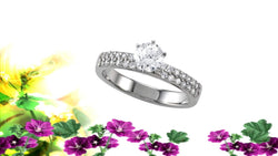 Double Row Diamond Engagement Ring Setting .45ctw