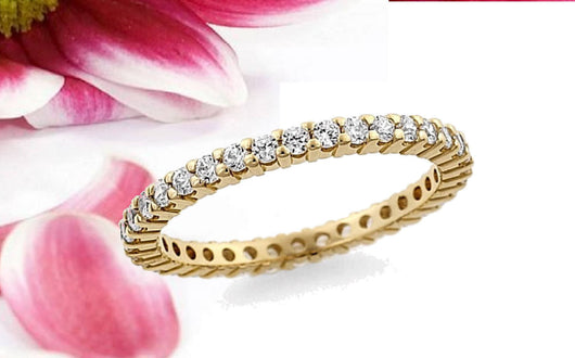 Diamond Eternity Band Ring .50ctw Shared Prong 14kt. Gold White, Yellow, or Rose