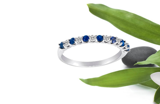 Diamond and Sapphire Ring Alternating Band 14kt Gold All Sizes Made in NYC