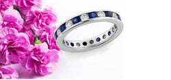 14kt. White Gold Alternating Diamond & Sapphire Eternity Band 3mm