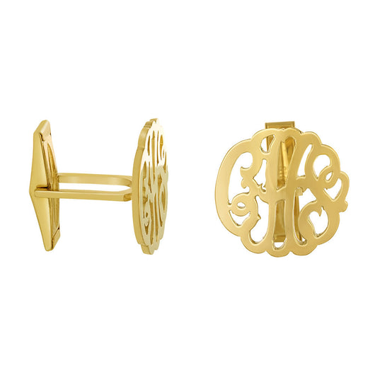 Cuff Links Silver With Gold Plating  Personalized Monogram
