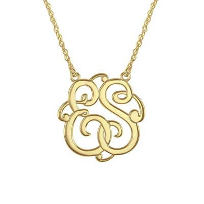 Personalized 1 inch Monogram Two Initials. Sterling Silver with 14kt. Gold Vermeil Necklace