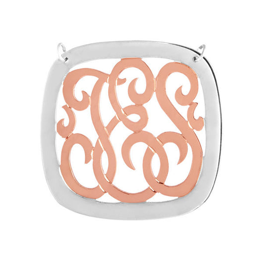 Two Tone 1.5 inch monogram necklace. Personalized. Sterling Silver with Rose Gold plating.