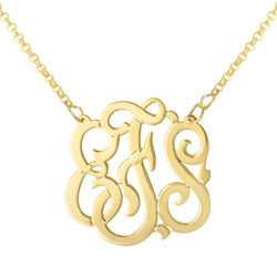 Sterling Silver 1.25 inch script curly monogram necklace. Free Shipping