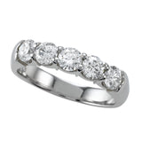 5 Diamond Anniversary Band Ring Wire U Setting Design 14k White Gold or Platinum 1.0ctw.