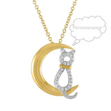 """Perseverance"" Yoga Cat Moon Necklace Women Teens CZ 925 Sterling Silver 18kt Gold Plated Two Tone. 18"" Plus Extension"
