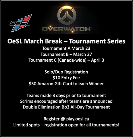Overwatch tournament March Break Esports league Ontario