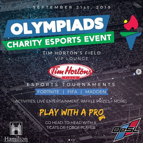The 3rd Annual Olympiads - Charity eSports Event @ Tim Hortons Field - Hamilton - September 21, 2019
