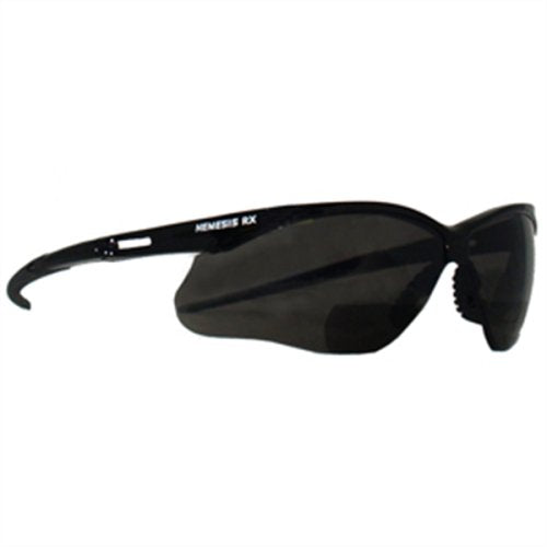 Nemesis RX Reading Safety Glasses, Black Frame/Smoke Lens, +2.5