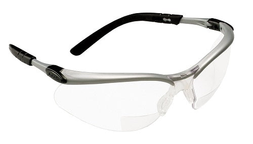 3M Reader +2.0 Diopter Safety Glasses, Silver/Black Frame, Clear Lens