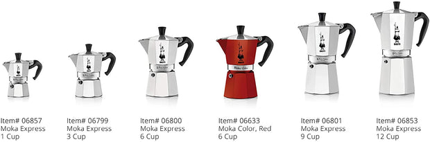 Bialetti Original Moka Express Made in Italy 12-Cup Stovetop Espresso Maker with Patented Valve, Silver