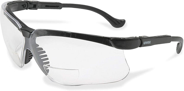 Uvex S3763 Genesis Reading Magnifiers Safety Eyewear +2-1/2, Black Frame, Clear Ultra-Dura Hardcoat Lens