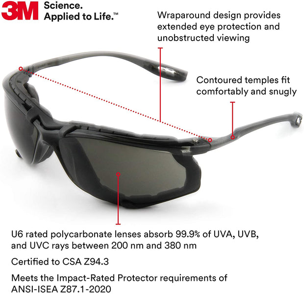 3M Safety Glasses, Virtua CCS, ANSI Z87, Anti-Fog, Gray Lens, Black Frame, Corded Ear Plug Control System, Removable Foam Gasket