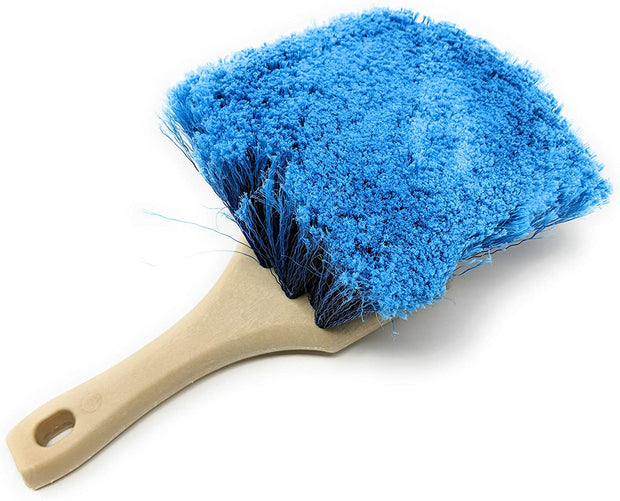 "Guttermaster Scrub Brush with Handle, Blue Medium Soft Bristles with Flagged Ends, Perfect for RVs and Larger Vehicles, 9"" x 3"" at the widest"