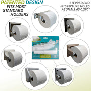 Teravan Standard Extender for Extra Large Toilet Paper, Converts TP Holders to Fit Double, Triple Rolls, and Most TP Fixtures, Silver, 2 Units
