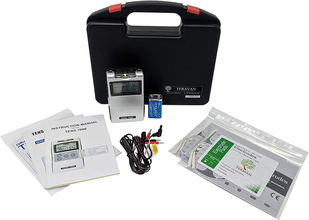 Teravan Bundle of 4 items: TENS 7000 Device + 8 Extra Electrodes and Accessories