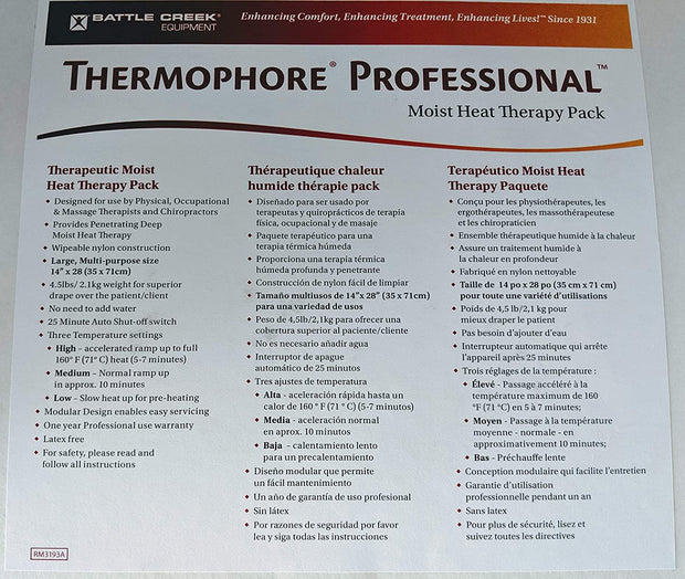 "Thermophore Professional Heating Pad (MaxHEAT Moist Heat Pack), Large,(14""x27"")"