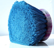 Teravan Blue Round Medium Firm Soft Flow-Thru Brush for Wheel and Utility Cleaning (4.5 Inch - Long Trim)