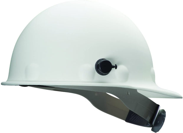 Fibre-Metal by Honeywell P2HNQRW01A000 Super Eight Fiber Glass Ratchet Cap Style Hard Hat with Quick-Lok, White
