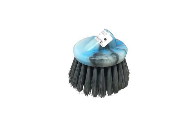 Guttermaster Grey 6 Inch Diameter Round Medium Stiff Flow Through Brush For Decks and Sidewalks