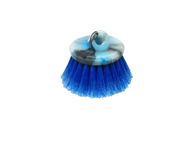 Guttermaster Blue 4.5 Inch Diameter Round Medium Soft Flow Through Brush With Flagged Ends For RV's and Larger Vehicles