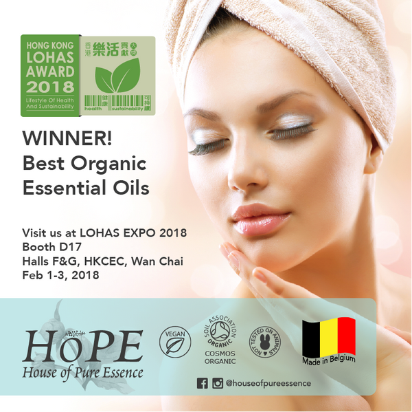 Visit House of Pure Essence (HoPE) at LOHAS Expo 2018! 1-3 Feb 2018, HKCEC Wanchai Halls 5F&G, Booth D17