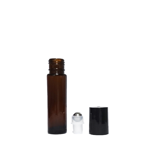 10 mL amber glass bottle with metal roller and black cap. - House of Pure Essence