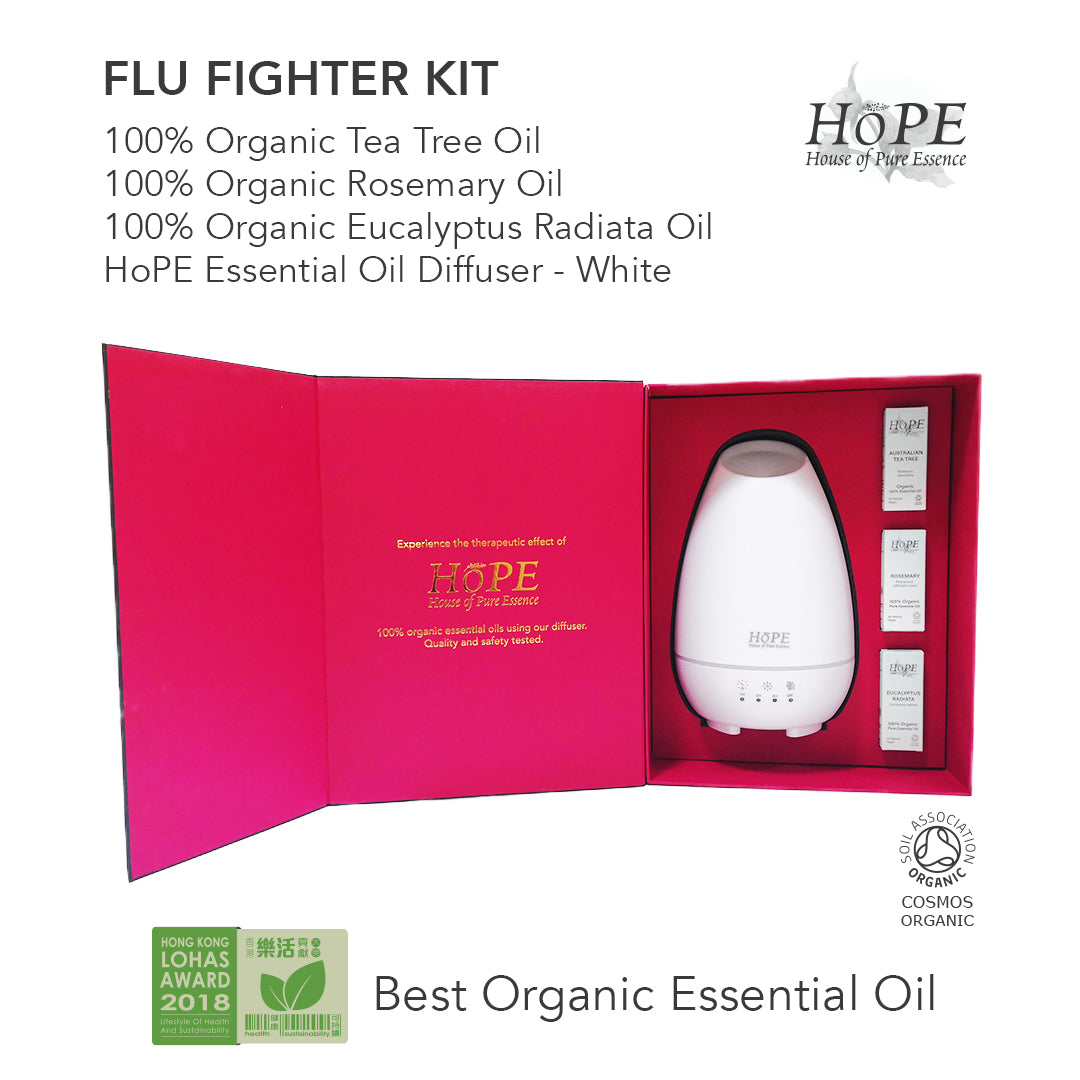 Flu Fighter Kit (Organic Essential Oils + Diffuser Gift Set) - House of Pure Essence