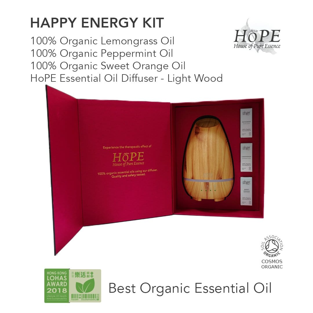 Happy Energy Kit (Organic Essential Oils + Diffuser Gift Set) - House of Pure Essence