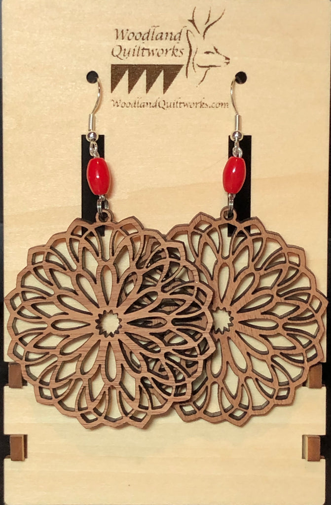 Mandala Wooden Dangle Earrings 20-10025