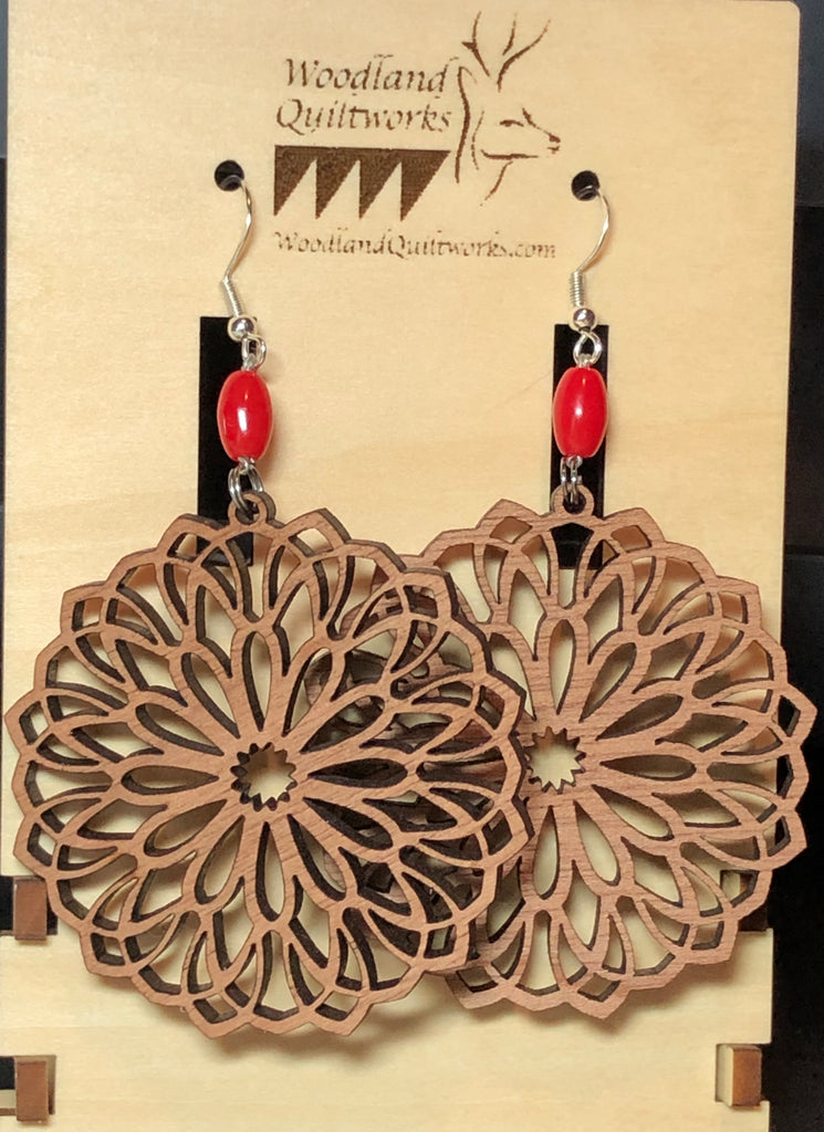 Mandala Wooden Dangle Earrings 20-10028