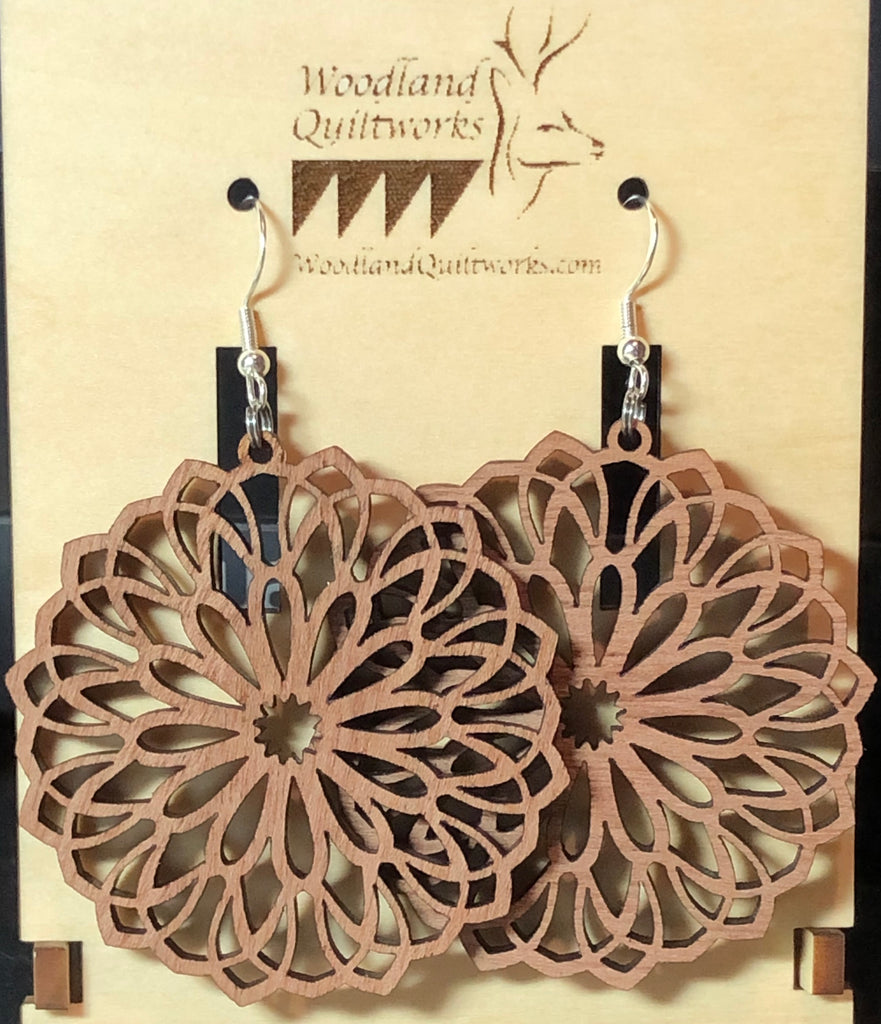Mandala Wooden Dangle Earrings 20-10032