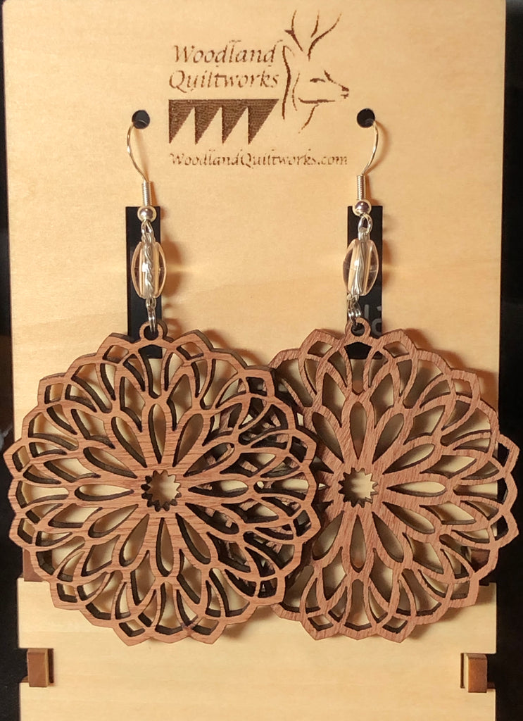 Mandala Wooden Dangle Earrings 20-10036