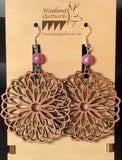 Mandala Wooden Dangle Earrings 20-10038