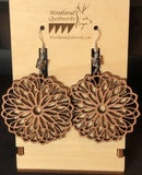 Mandala Wooden Dangle Earrings 20-10041