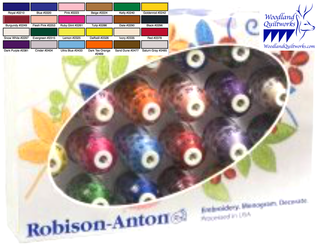 Robison-Anton Gift Set 40wt Super Strength Rayon - 24 Spools GGR2023 - Woodland Quiltworks, LLC