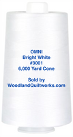 Superior Threads® OMNI™ #3001 Bright White 6,000 Yard Cone - Woodland Quiltworks, LLC