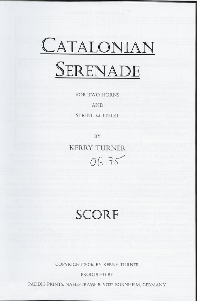 CATALONIAN SERENADE for 2 Solo Horns and String Orchestra, by Kerry Turner