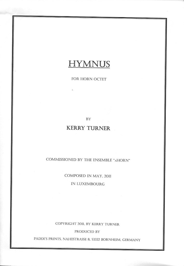 Hymnus for Horn Octet by Kerry Turner - PDF Version